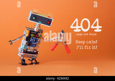 Error 404 page not found page. Keep calm I'll fix it. Friendly robotic toy with red pliers. Fun handyman character, - Stock Photo
