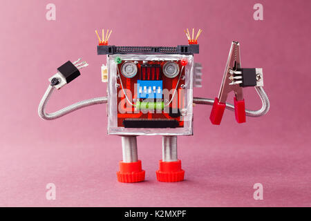Handyman ready for work. Serviceman robot character with red pliers. Violet background - Stock Photo