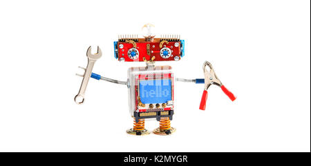 Handyman robot chat bot with hand wrench, pliers on white background. Smiley red head mechanical cyborg, blue monitor - Stock Photo