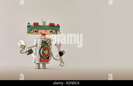 Automation robotic process concept. Hand wrench adjustable spanner handyman on beige gradient background. Friendly - Stock Photo