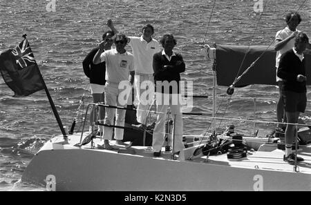 AJAXNETPHOTO. - 15TH AUGUST, 1979. PLYMOUTH, ENGLAND. - FASTNET END - BRITISH ADMIRAL'S CUP TEAM YACHT BLIZZARD - Stock Photo