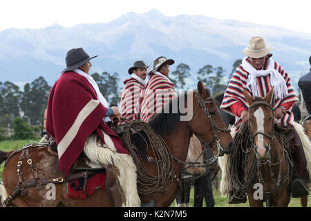 June 3, 2017 Machachi, Ecuador: a group of cowboys from the Andes called 'chagra' on horse back outdoors - Stock Photo