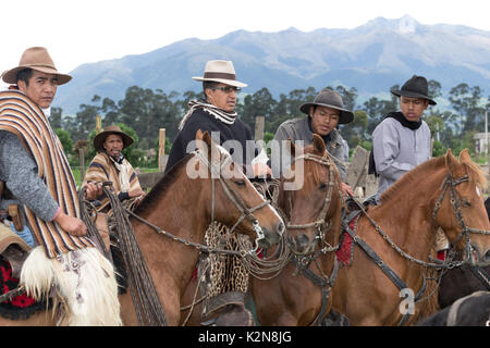 June 3, 2017 Machachi, Ecuador: group of cowboys called 'chagra' on horse back at a rural rodeo in the Andes - Stock Photo