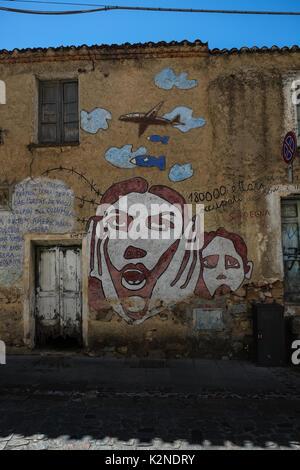 Street art murals in Orgosolo, Sardinia, Italy - Stock Photo