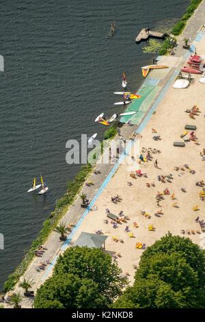 Seaside Beach Baldeney, Baldeneysee, Strandbad, Essen, Ruhrgebiet, North Rhine-Westphalia, Germany - Stock Photo