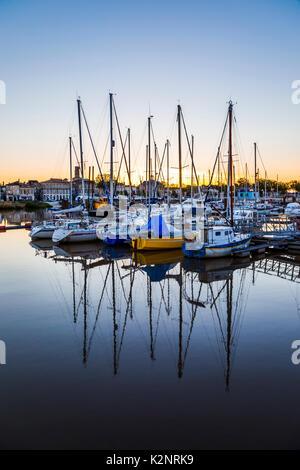 Pauillac marina at night, yachts, reflections and illuminated buildings, Gironde Estuary, Gironde department in - Stock Photo