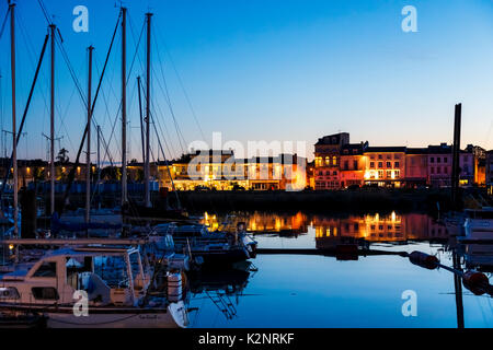 Pauillac marina at night, yachts, reflections and illuminated buildings, Gironde Estuary, Gironde department in - Stock Photo