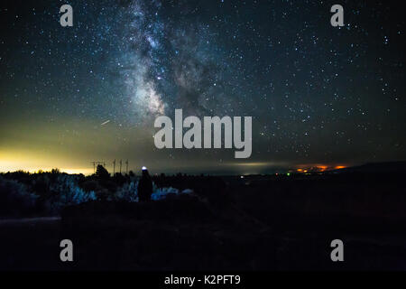 Great view of the Milky Way from Cove Palisades State Park in Central Oregon. - Stock Photo