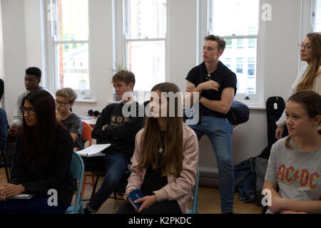 London, UK. 31st Aug, 2017. London's top young buskers took part in a boot camp with music industry experts at the - Stock Photo