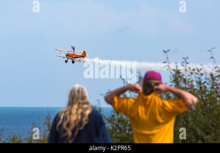 Bournemouth, UK. 31st Aug, 2017. The first day of the tenth anniversary of the Bournemouth Air Festival. Watching - Stock Photo