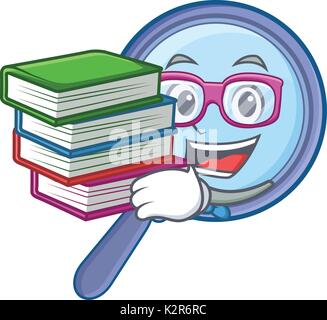 Student with book magnifying glass character cartoon Stock Photo