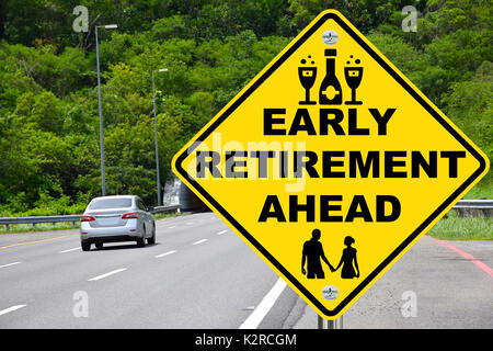 Early retirement ahead road sign. - Stock Photo