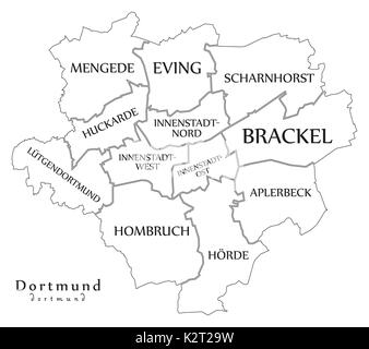 Modern City Map Dortmund city of Germany with boroughs DE Stock