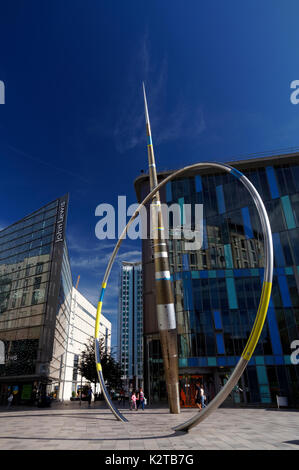 'Alliance' sculpture by Jean-Bernard Metais outside the Central Library on Hayes Place, Cardiff, wales. - Stock Photo