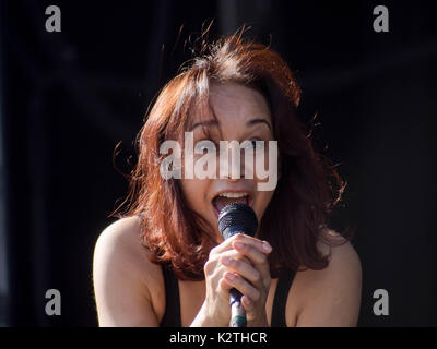 Sonya Madan of indie band Echobelly performs at the Victorious Festival in Portsmouth - Stock Photo