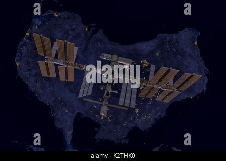 International Space Station over Australia. Elements of this image furnished by NASA. - Stock Photo