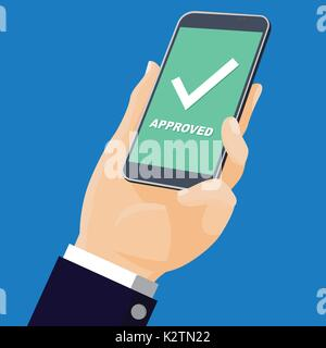 Businessmen Holding smartphone. Mobile phone with white whiite check mark and text; Approved. Success concept-Flat - Stock Photo