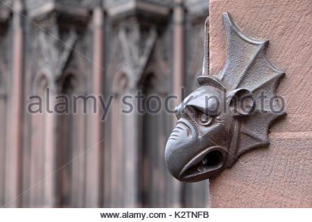France, Alsace, Bas Rhin, Strasbourg, la tete de dragon se situe a l'entree de la cathedrale, celui qui la touche - Stock Photo
