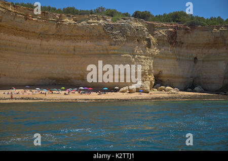 Boat tour near Carvoeiro, in Algarve, Portugal. Travel and vacation destinations - Stock Photo