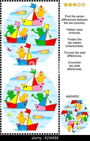Visual puzzle: Find the seven differences between the two pictures of toy sailboats regatta, with frogs and chicks - Stock Photo
