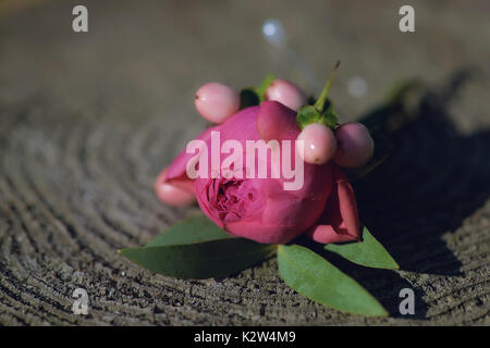 A pink peony small bouquet for buttonhole used for groom and wedding guests positioned on a stamp, in natural light. - Stock Photo