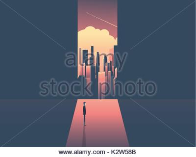 Businessman looking through window at urban skyline. Business ambition, opportunity and corporate world concept - Stock Photo