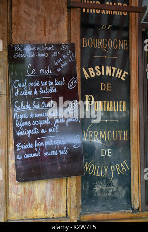 Menu outside restaurant, Paris, France - Stock Photo