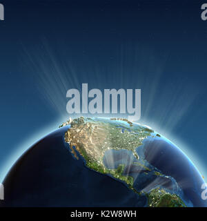 North America lights 3d rendering - Stock Photo
