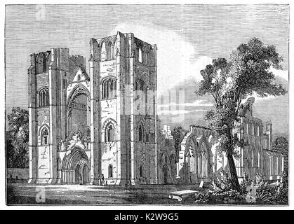 Old view of Elgin cathedral, Scotland. By unidentified author, published on Penny Magazine, London, 1835 - Stock Photo