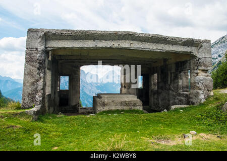 Bunker from first world war on the top of a highest mountain pass Vrsic in Slovenia - Stock Photo