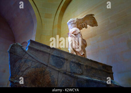 Winged Victory of Samothrace at the Louvre Museum in Paris, France. - Stock Photo