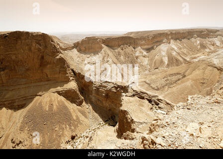 Judaean Desert near the Dead Sea seen from the Masada fortress. Israel - Stock Photo