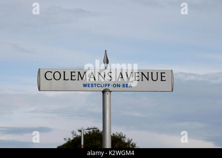 Colemans Avenue road sign in Westcliff on Sea, Essex. Space for copy - Stock Photo
