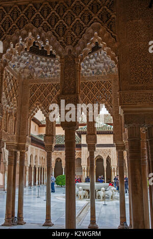 Sala de los Reyes (Hall of the Kings), la Alhambra, Granada, Spain: looking out through the beautiful entrance pavilion - Stock Photo
