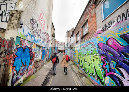 Graffiti in Hepburn Rd in Stokes Croft, Bristol UK - Stock Photo
