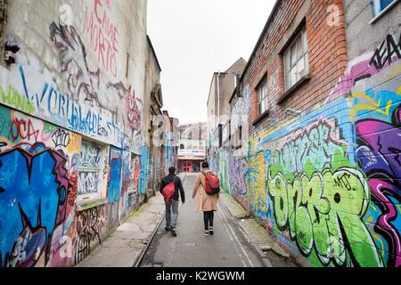Graffiti in Hepburn Rd in Stokes Croft, Bristol UK - Stock Photo