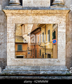 THIS IS A PHOTOGRAPH WITHIN ANOTHER PHOTOGRAPH. THE FRAME IS A COLUMN FROM PIENZA USE TO FRAME THE PHOTO MADE ON - Stock Photo