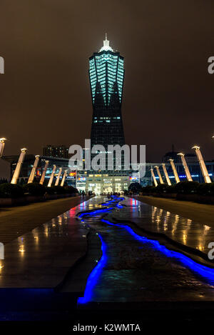 wulinn square view Global Centre Tower night illuminated - Stock Photo