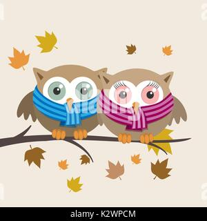 Couple of owls with scarf on a fall day. Vector illustration - Stock Photo