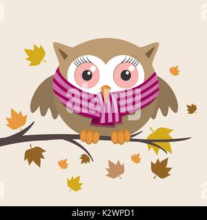 Female owl with scarf on a fall day. Vector illustration - Stock Photo