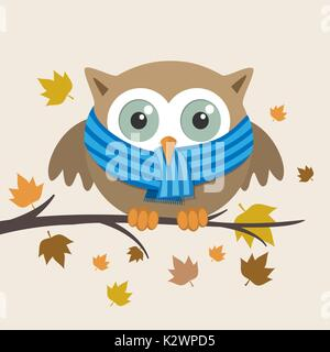 Male owl with scarf on a fall day. Vector illustration - Stock Photo