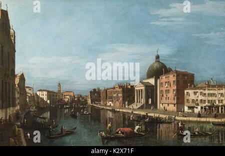 Follower of Canaletto, Venetian School, XVIIIth century, The Grand Canal with San Simeone Piccolo, ca. 1740. - Stock Photo
