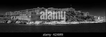 Black and White view of Conference Centre Villa Bighi, Triq Marina, Il-Kalkara, Malta - viewed from Grand Harbour, - Stock Photo