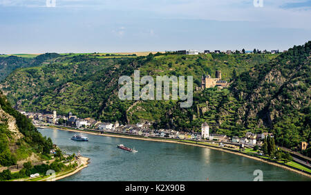 View from Loreley. Famous viewpoint high above the Rhine river. - Stock Photo