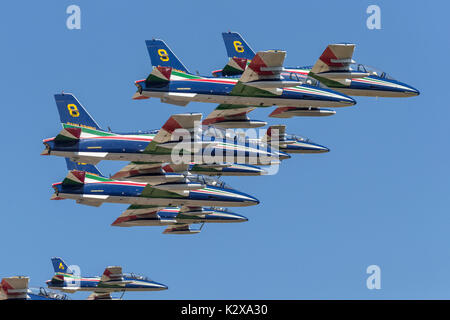 Aermacchi MB339's of the Italian AF's Frecce Tricolori - Stock Photo