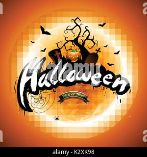 Vector Happy Halloween illustration with pumpkin and moon on orange background. Eps10 illustration. - Stock Photo