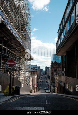 August 2017 - Construction work continues on the Glasgow School of Art Charles Rennie Mackintosh building following - Stock Photo