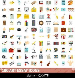artistic essay icons set flat style stock vector art  100 art essay icons set flat style stock photo