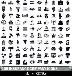 100 insurance company icons set, simple style  - Stock Photo