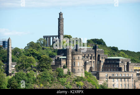 View of Calton Hill, Edinburgh showing the Political Martyrs monument (extreme left) the National monument, Nelson - Stock Photo